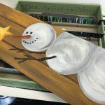 Schilderen met sjabloon van een sneeuwman