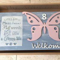 welkomstbord met vlinder creatieve workshop